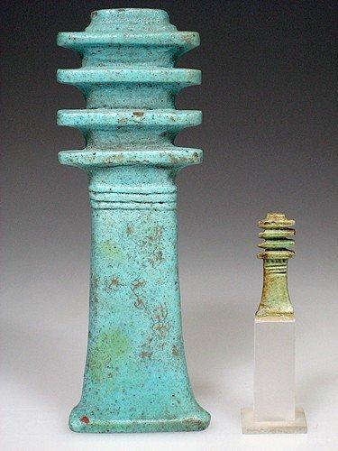 32: A Very Large Egyptian Blue Glazed Djed Pillar