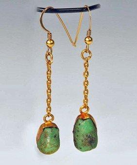 Egyptian Green Glazed Faience Amulet Bead Earrings