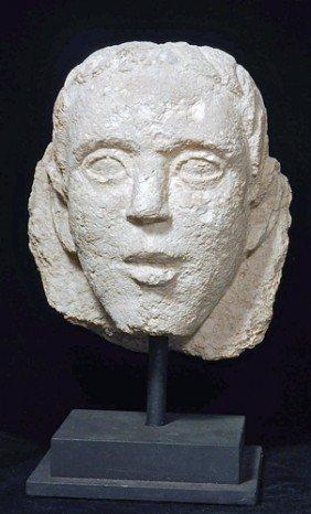 A Romano-Egyptian Limestone Male Head
