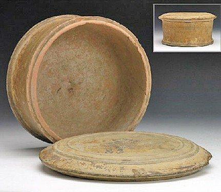 54: A Greek Attic Pottery Lidded Pyxis