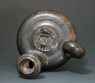 71: A Greek Apulian Blackware Guttos - Silenus