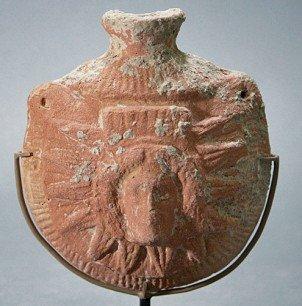 78: A Greek Hellenistic Pilgrim's Flask - Helios