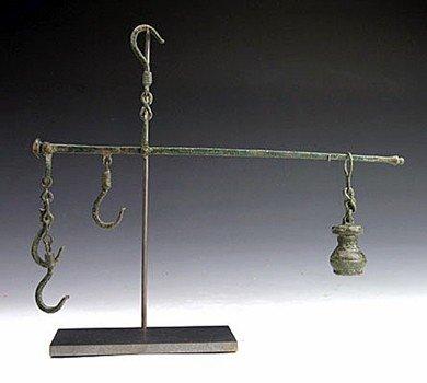 93: A Roman Bronze Steelyard, Chains and Weight