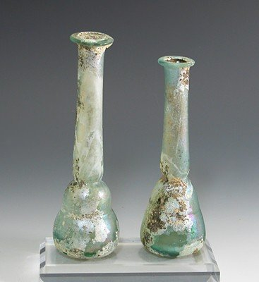 85C: A Pair of Roman Glass Tall Unguents / Bottles