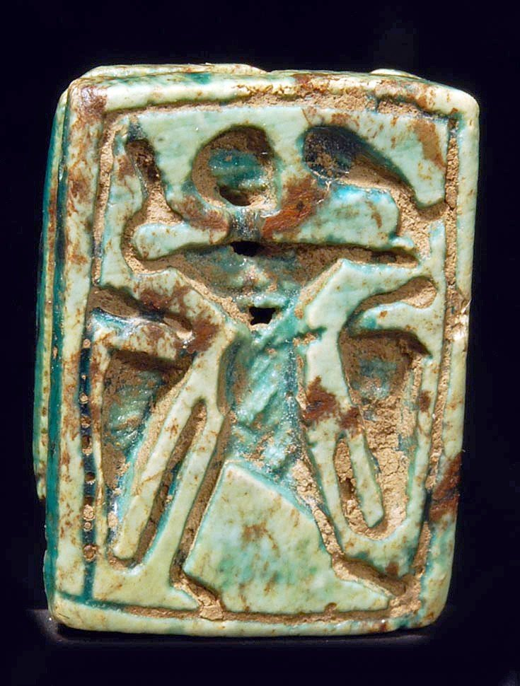 18: An Egyptian Green Steatite Amuletic Plaque