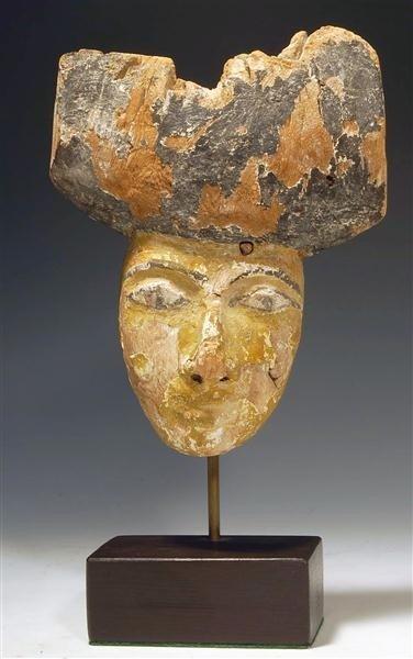 21: An Egyptian Wood Sarcophagus Mask