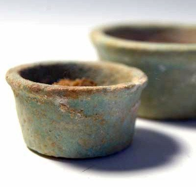 33: Two Egyptian Faience Offering Cups with Contents