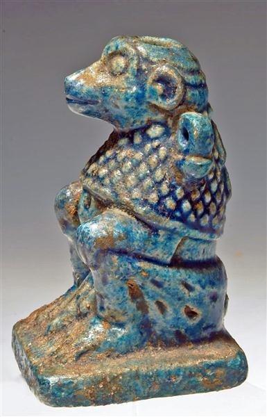53: An Egyptian Glazed Composition Baboon Vessel