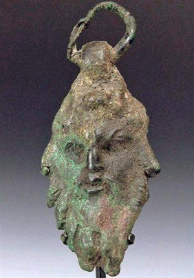 A Published Roman Bronze Applique - Pan