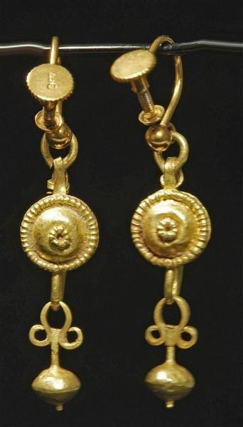 97: Roman Gold Pendant Earrings, ex-Christie's