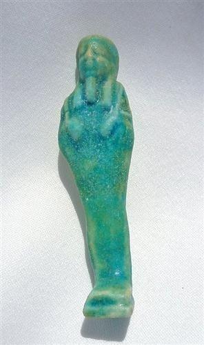41B: An Egyptian Turquoise-Green Glaze  Faience Ushabti