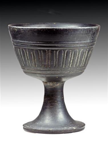 62B: An Etruscan Bucchero Ware Footed Cup