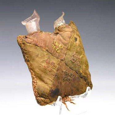 101B: A Roman Silk / Linen Purse / Orig. Glass Bottles