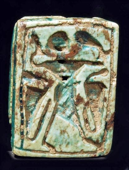 1: An Egyptian Green Steatite Amuletic Plaque