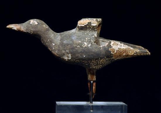 3: An Egyptian Polychrome Painted Wood Bird