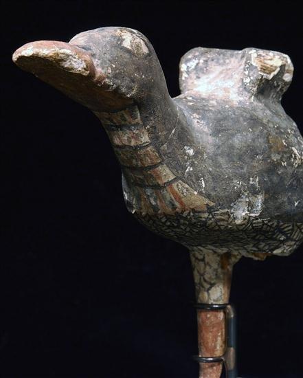 3: An Egyptian Polychrome Painted Wood Bird - 4