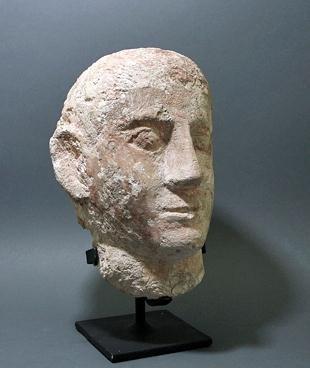 14: A Life-Sized Limestone Coptic Head of a Male