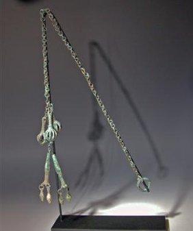 Greek Geometric Bronze Pendants W/ Chain