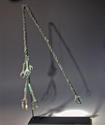 18: Greek Geometric Bronze Pendants w/ Chain