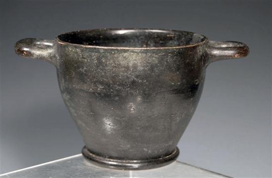 22: A Campanian Black Glazed Pottery Skyphos