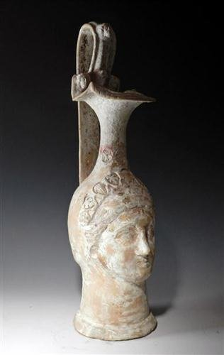 34: An Unusual Canosan Pottery Figural Vase