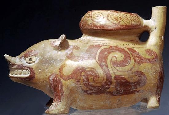 145: A Pre Columbian Huastec Pottery Pig Vessel - 3