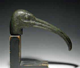 An Egyptian Bronze Head Of An Ibis