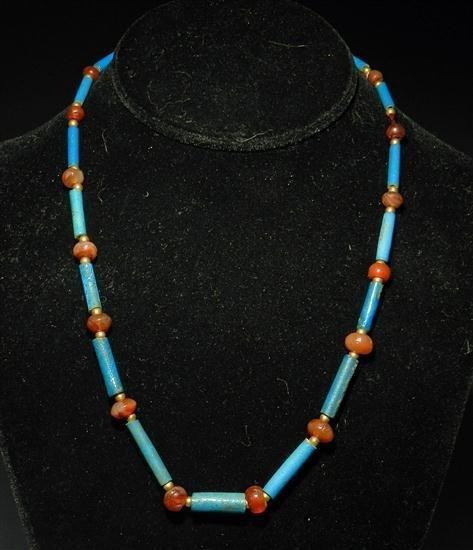 1A: An Egyptian Faience & Carnelian Necklace