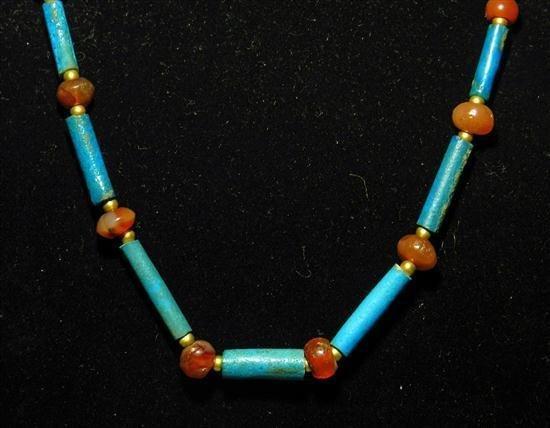 1A: An Egyptian Faience & Carnelian Necklace - 2
