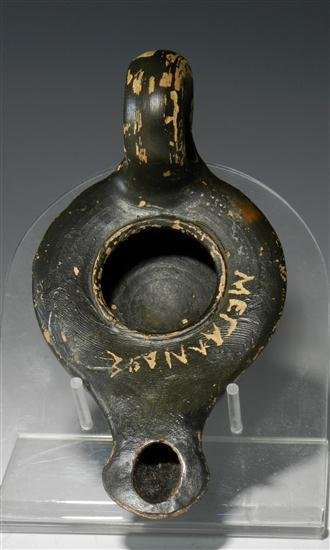 22A: An Inscribed Greek Blackware Oil Lamp