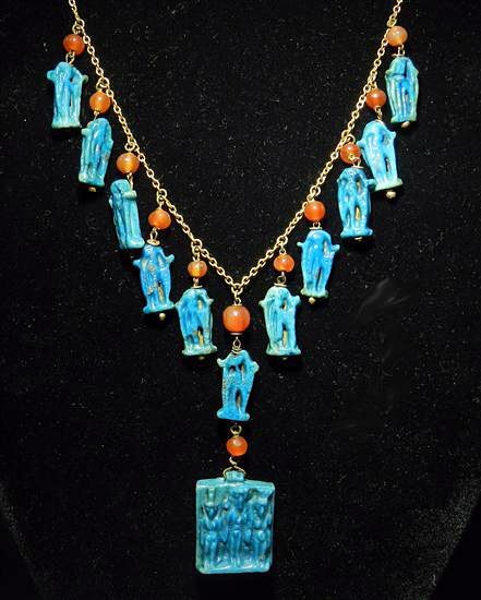 A1: An Important Egyptian Faience Amulet Gold Necklace