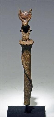 6: A Egyptian Bronze Staff with Uraeus - Rare!