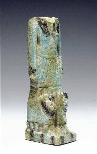 14: An Egyptian Faience Striding Anubis w/ Lions