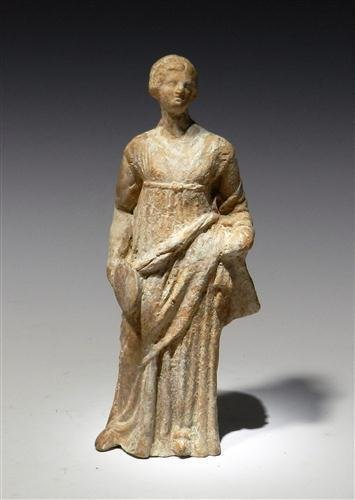 28: A Greek Tanagra Terracotta Standing Figure