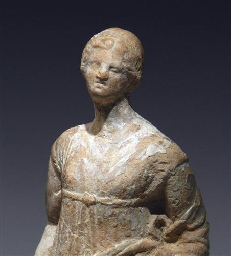28: A Greek Tanagra Terracotta Standing Figure - 2