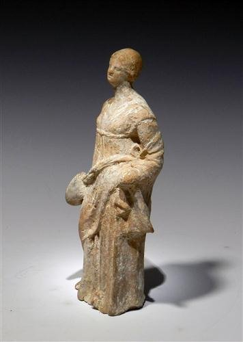 28: A Greek Tanagra Terracotta Standing Figure - 3