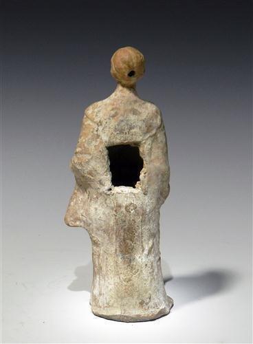 28: A Greek Tanagra Terracotta Standing Figure - 4
