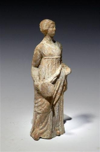 28: A Greek Tanagra Terracotta Standing Figure - 5