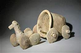 83: A Syrian Terracotta Toy Cart and Horse