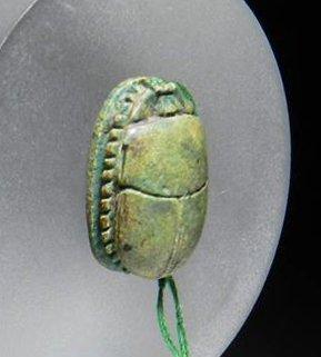 16C: An Egyptian Green Steatite Scarab - 18th Dynasty