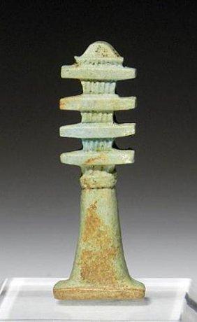An Egyptian Faience Djed Pillar Amulet
