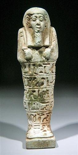9: An Egyptian Glazed Composite Shabti for Sa-Aset