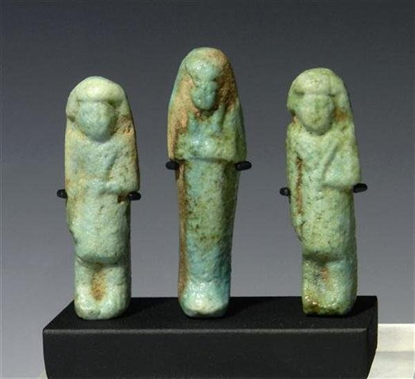 4: A Set of Three Egyptian Faience Ushabtis