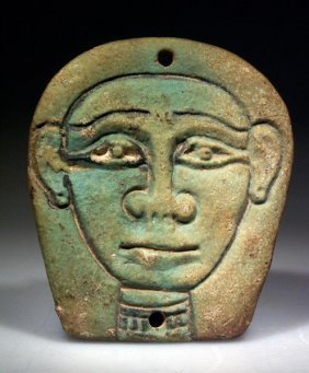 An Egyptian Glazed Composition Plaque Goddess Hathor