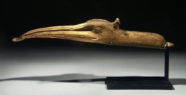 14: An Egyptian Gilded Head of an Ibis, ex-Christie's