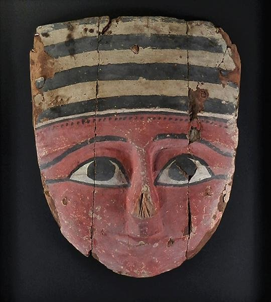 15: A Large Egyptian Polychrome Wood Coffin Mask