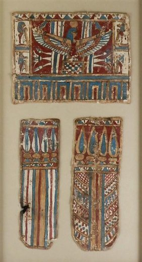 17: A Set of 3 Egyptian Cartonnnage Panels Winged Isis