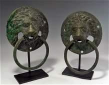 61: Pair of Large Roman Bronze Lion Head Door Knockers