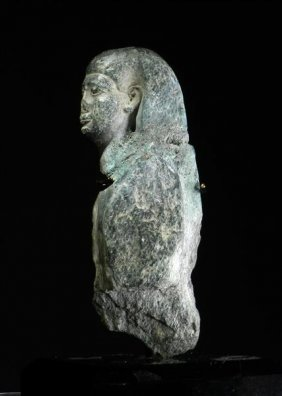 A Rare Egyptian Gray Graywacke Osirus Figure
