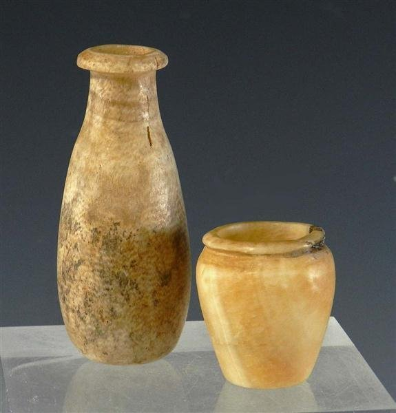 3A: A Pair of Egyptian Alabaster Jars (Near Miniature)